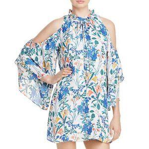 Parker Silk Cold Shoulder Floral Dress